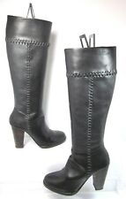 Joie Allman Knee High Boot Black Stitch Leather Side Zip Size 35 Mint Condition