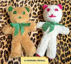 FRENCH 1970s SOFT CUDDLY BEARS TOYS ~LOT OF 2~HANDCRAFTED IN FRANCE~NEW VINTAGE
