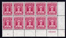 Newfoundland Scott #'s 253, 254, 255, 257, 259 - Plate Blocks of 10, MNH - XF+