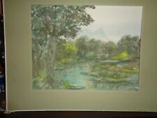 """Bishop: Vermont listed artist: watrcolor """"Landscape at the Bog""""-great watercolor"""