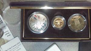 1989 3 Coin Proof Congressional Gold & Silver Commemorative Set Box and COA