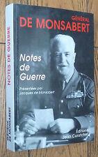 rare GÉNÉRAL DE MONSABERT : NOTES DE GUERRE