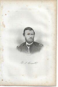 Civil War engraving General Ulysses S Grant, President, Ft Donalson, Vicksburg