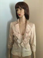 WHITE HOUSE BLACK MARKET Sz 6 Khaki Sateen PEPLUM JACKET TOP Cascade Ruffle