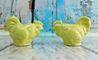 Vintage Porcelain/Ceramic Chicken Yellow Glazed Salt & Pepper Shakers