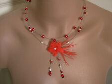 Collier original Ivoire/Blanc/Rouge p robe d Mariée/Mariage fleur pas cher