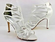 NEW Davids Bridal Heels Shoes Vienna White Silver Satin Rhinestones Back Zip 10M