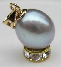 Beautiful 14K Yellow Gold 10-11mm Silver Gray South Sea Pearl Pendant