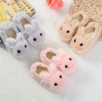 Toddler Infant Kid Boys Girls Winter Warm Shoes Cartoon Rabbit Soft Slippers