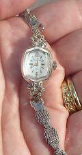 VINTAGE LADIES BULOVA * 14K GOLD CASE * WRIST WATCH w/ 10 MINI DIAMONDS 23 J