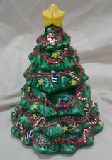 """Ceramic Xmas Tree Candle 6"""" Green Red Star Presents Vtg Holiday Spice Scented"""