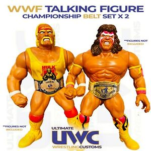 "WWF Custom Wrestling Belts 12"" Talking Figures Belt Set x 2 Hasbro"