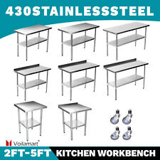 More details for voilamart commercial stainless steel kitchen catering table work bench worktop