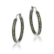 925 Silver 1ct Champagne Diamond Inside-Out Hoop Earrings