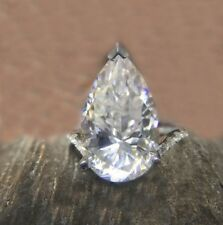 4.72 Ct Near White Pear Moissanite Antique Engagement Ring 925 Sterling Silver