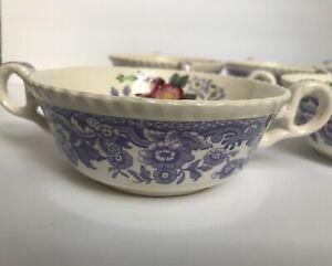 Vintage Copeland Spode Mayflower 8 Handled Soup Bowl England Floral 2/8772