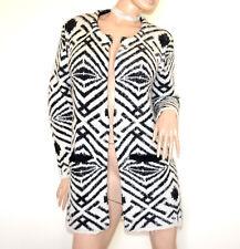 CARDIGAN NERO BIANCO donna maglione aperto + spilla manica lunga girocollo G80