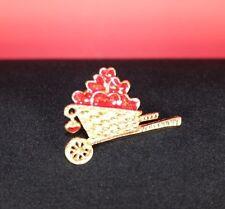 Valentine Gift Heart Pin Wheelbarrow Lapel Red Gold Vintage w/ Sheer Drawstring
