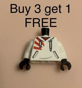 Lego Torso White Minifig Hoodie White Laces Red Stripes Pockets Pattern Hidden