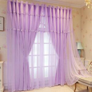 Lace Princess Curtain Blackout Living Room Window Drape Hanging Ornament Eyelets