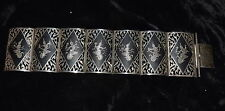 TH-021 - Siam Sterling Silver Panel Bracelet 7-inch Long Vintage