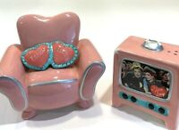 I Love Lucy Collectible Porcelain Salt & Pepper Shaker Armchair Vintage TV Set
