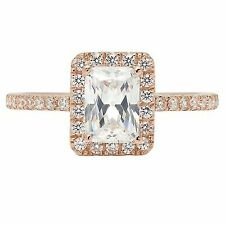 1.85ct Emerald Cut Solitaire Bridal Promise Engagement Ring Halo 14k Rose Gold
