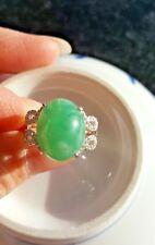 Genuine Huge Nice Water Green 10.05 ct Jadeite Jade(Type A) 925 Silver Ring