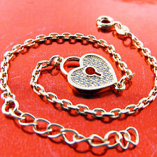 Bracelet Real 18K Yellow G/F Gold Diamond Simulated Padlock Heart Design Fs3A535