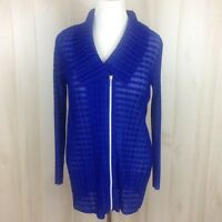 Travelers Collection Chico's Sz. 2 Pleated Up Zip Jacket Blue Womens 12 Large