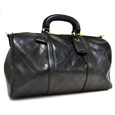 Auth CHANEL Travelling Bag Overnight Bag Hand Bag Black Leather