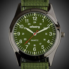 INFANTRY MENS QUARTZ WRIST WATCH LUMINOUS HAND SPORT MILITARY ARMY GREEN CANVAS