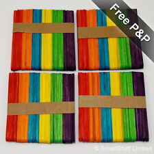 Wooden Rainbow Coloured Lolly / Lollipop Sticks Crafts & Model Making - Qty 200
