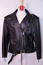 Women's size XL Wilsons Leather Black Lined Motorcycle Jacket Leather Coat