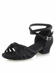 Daydance Black Dance Shoes Low Heels Latin Tango Salsa Ballroom - Size 36 / 4.5