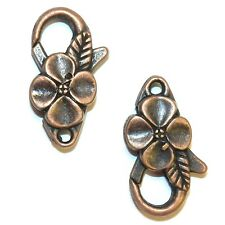 ML399L Antique Copper Large 25mm Flower Design Lobster Claw Focal Clasp 10pc
