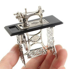 1/12 Dollhouse Miniatures Furniture Vintage Silver Sewing Machine Table Metal