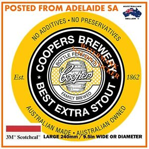 NEW COOPERS STOUT BEER  STICKER X-LARGE 240mm DIA / WIDE HOT ROD SPEED