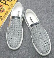 Mens Flat Sports Athletic Sneakers Gym Walking Bling Fashion Rivet Shoes