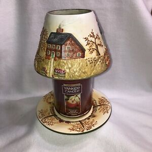 Yankee Candle Ceramic Shade & Plate Autumn Fall Harvest Village Homes Pumpkins