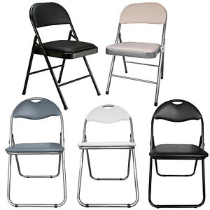 Folding Chair Faux Leather Padded Comfortable Seat Backrest Office Study Events