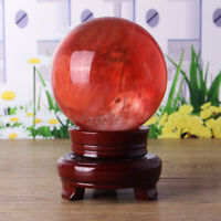 Red Citrine Calcite Quartz Gemstone Stand Crystal Sphere Ball Healing 60mm-80mm