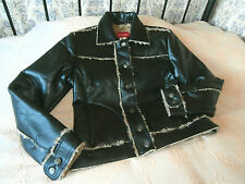 Black faux leather & light brown faux lambswool jacket by XX by MEXX Size 12