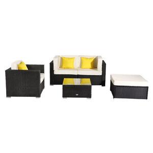 5 Pieces Patio PE Wicker Rattan Corner Sofa
