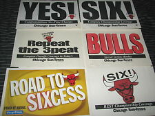 Lot of 6 Chicago Bulls Championship Signs Posters Sun Times Tribune Newspaper B