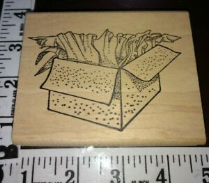 Open gift box, paper, hippo heart, big,909,rubber,stamp