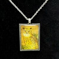 Lavishy Owl Mushroom Necklace Square Pendant Reversible Antiqued Silver Handmade