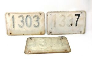 Antique Black and White Metal House Number Signs Set of 3 Plate, Rectangular