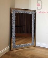 Beautiful Silver Glitter Cluster Border On Glass Wall Mirror120x 80cm Home Decor