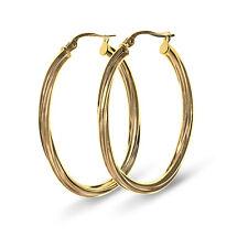 9 CT Yellow Gold Large Creole Hoop Twist Design Earrings (00255)
